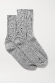 Johnstons of Elgin Cable-knit cashmere socks