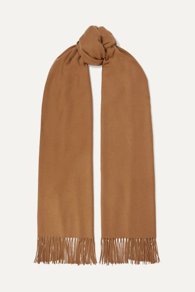 JOHNSTONS OF ELGIN Fringed Vicuña Scarf in Camel