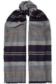 Fringed striped cashmere stole