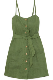 Beso belted linen mini dress