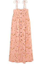 Suki smocked floral-print crinkled-crepe midi dress