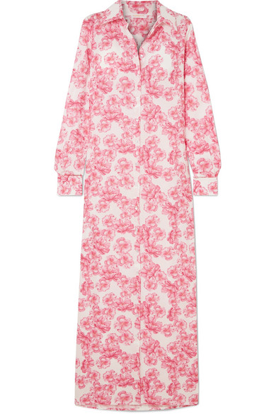 Christina Floral-Print Cotton-Voile Maxi Dress in Pink