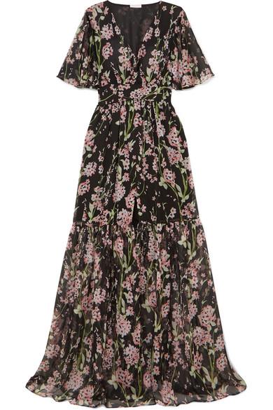 EYWASOULS MALIBU Maria Floral-Print Chiffon Maxi Dress in Black