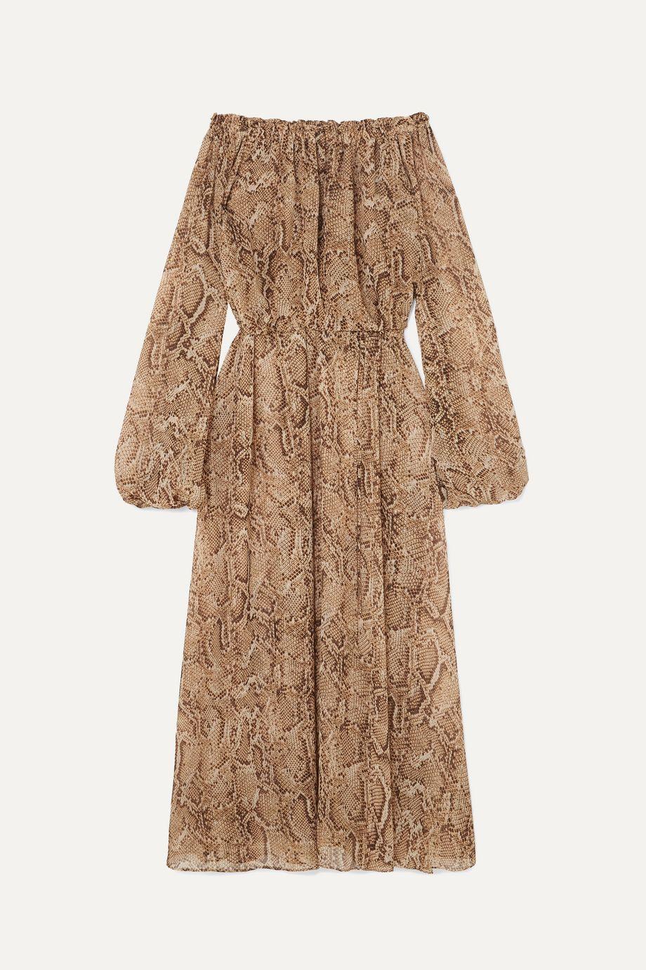 ROTATE Birger Christensen Off-the-shoulder snake-print chiffon maxi dress