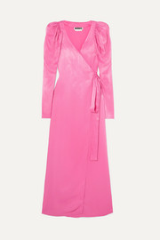 ROTATE Pleated satin wrap maxi dress