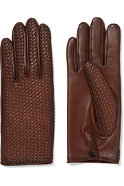 Woven leather gloves