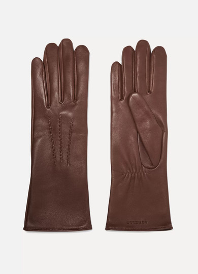 AGNELLE Grace Leather Gloves in Brown