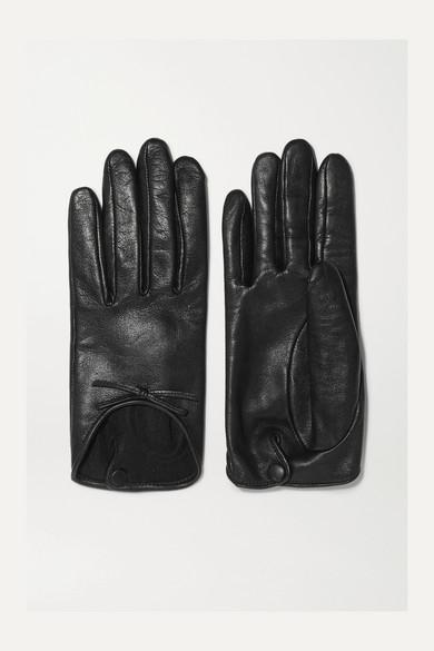 AGNELLE Josie Bow-Embellished Leather Gloves in Black