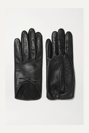 Josie bow-embellished leather gloves