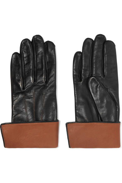 AGNELLE Leather Gloves in Black