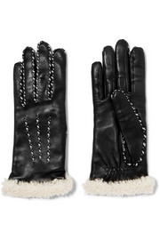 Shearling-trimmed leather gloves