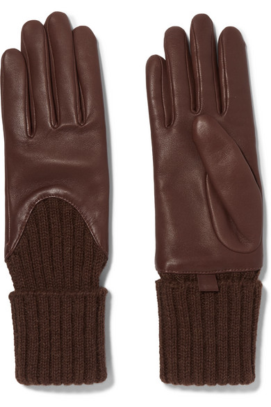 AGNELLE Leather And Ribbed Cashmere Gloves in Brown