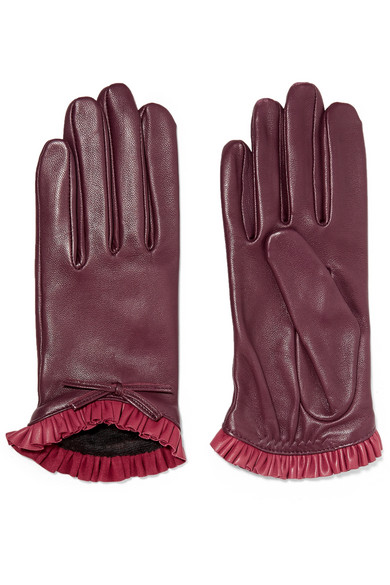 AGNELLE Josie Bow-Embellished Ruffled Leather Gloves
