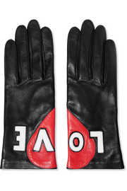 Appliquéd leather gloves