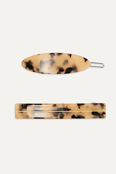 VALET Set Of Two Tortoiseshell Resin Hair Clips
