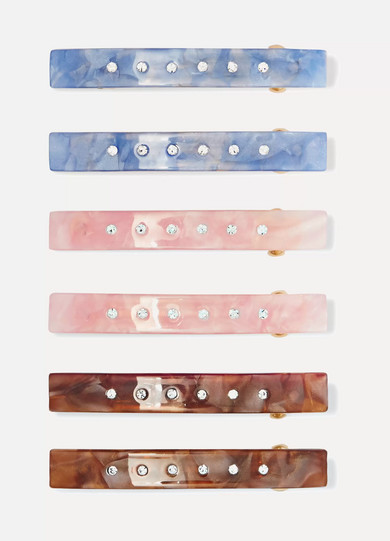 VALET Set Of Six Embellished Resin Hairclips in Pink