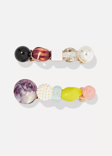 VALET Lulu Set Of Two Resin Hairclips in White