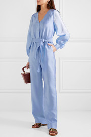 Trinity belted hammered-satin jumpsuit