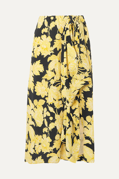 Stine Goya Skirts LILLY DRAPED FLORAL-PRINT SILK-CREPE MIDI SKIRT