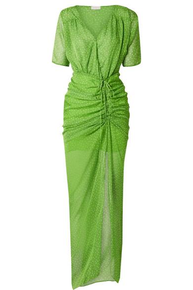 Elke Ruched Polka Dot Chiffon Maxi Dress by Eywasouls Malibu