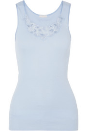 Aurelia lace-trimmed mercerized cotton tank