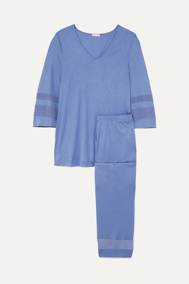 Hanro Accessories Enna paneled modal and silk-blend pajama set