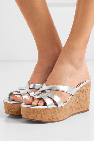 5089876ce907 Stuart Weitzman. Cadence metallic leather wedge sandals