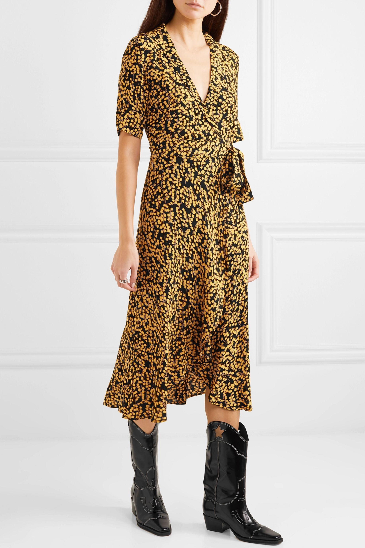 GANNI Floral-print crepe de chine wrap dress