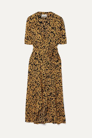 durable service choose newest new high Floral-print crepe de chine wrap dress