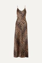 4a1e9b6efeb GANNI Leopard-print stretch-silk satin maxi dress