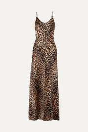 GANNI Leopard-print stretch-silk satin maxi dress