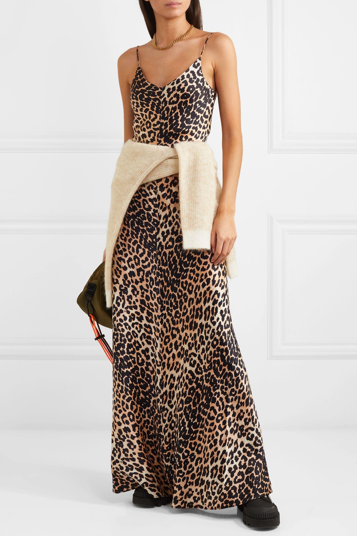 Leopard print Leopard-print stretch-silk satin maxi dress | GANNI |  NET-A-PORTER
