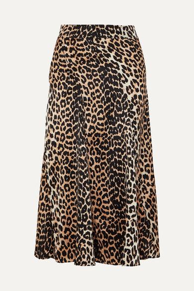 Ganni Skirts Leopard-print stretch-silk skirt