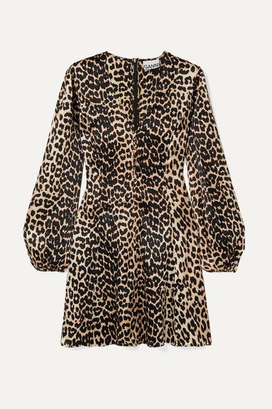 Blakely Leopard Print Silk Blend Satin Mini Dress by Ganni