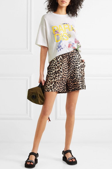 4714f11b06b1 GANNI | Leopard-print linen and silk-blend shorts | NET-A-PORTER.COM