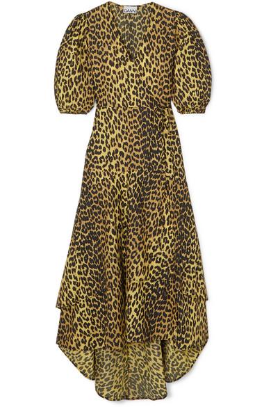 Ganni Dresses Leopard-print cotton-poplin wrap dress
