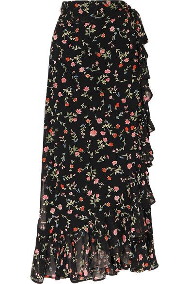 Ganni Skirts Ruffled floral-print georgette wrap skirt
