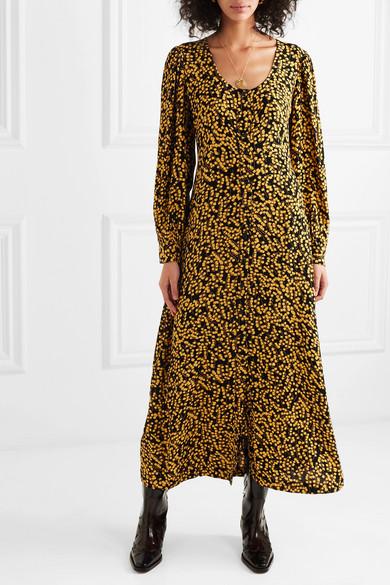 Ganni Dresses Floral-print crepe de chine midi dress