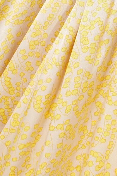 Ganni Dresses Knotted floral-print satin maxi dress
