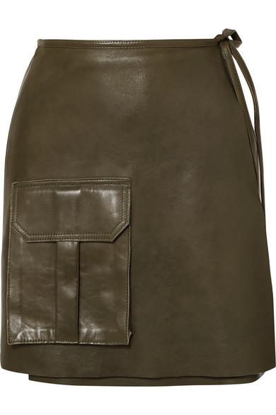 Ganni Skirts Leather mini wrap skirt