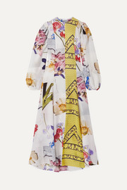 GANNI Patchwork printed crepe de chine maxi dress
