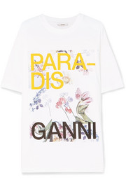 GANNI Oversized printed cotton-jersey T-shirt