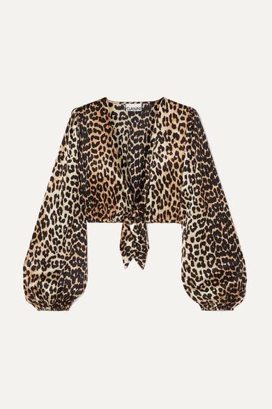 Ganni Tops Cropped tie-front leopard-print silk-blend satin top