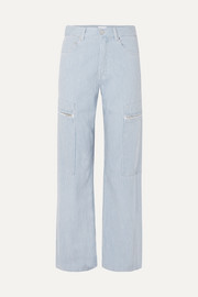 Denali striped high-rise wide-leg jeans
