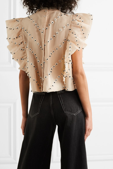 Ganni Tops Cropped ruffled embellished tulle top