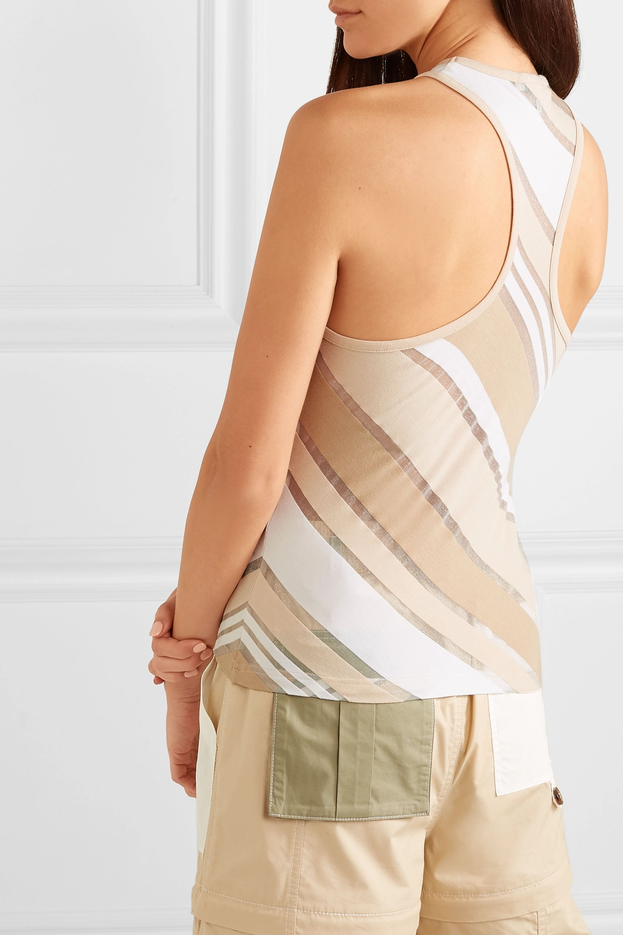 GANNI Striped stretch-jersey and tulle tank