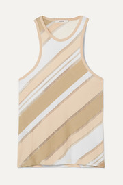 Striped stretch-jersey and tulle tank