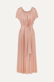 Gathered stretch-sateen maxi dress