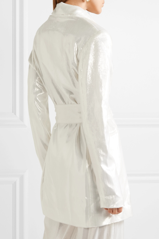 Michael Lo Sordo Marina belted metallic velvet blazer