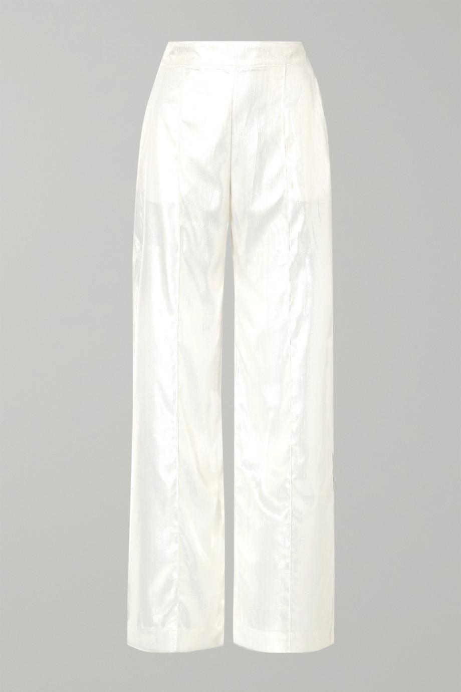 Michael Lo Sordo Metallic velvet wide-leg pants